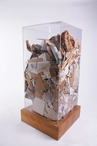 ARMAN, Christo's Refuse, 1973, Accumulation of garbage in Plexiglas box 48 x 24 x 24 in. (122 x 61 x 61 cm) Unique and original