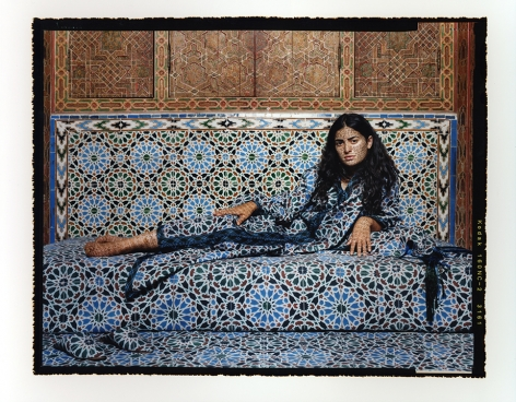 Lalla Essaydi Harem #2, 2009 Chromogenic print mounted to aluminum with a UV protective laminate 180.4 x 223.5 cm From an edition of 5 © Lalla Essaydi.Courtesy of the artist Leila Heller Gallery and Edwynn Houk Gallery, New York and Zurich