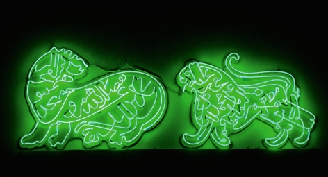Oxymoron, 2010, Green neon diptych