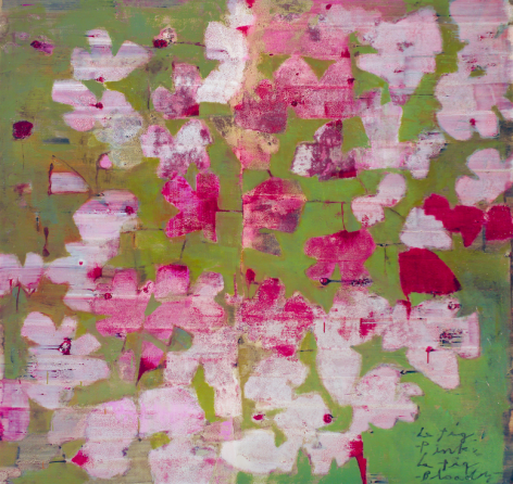 Le Fig Pink, Le FigGreen,Oil and tar on canvas,168 x 178 cm.
