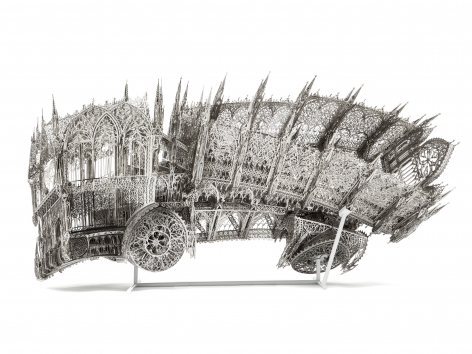 Twisted Dump Truck (Counterclockwise), 2013, Laser-cut stainless steel
