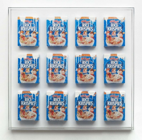 Snap, Crackle, Pop H, 2015, Cereal boxes, acrylic, crushed glass, wood