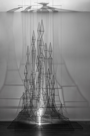 Forest (Aglibol),2015, Steel, fiberglass mesh, chain, LED lights