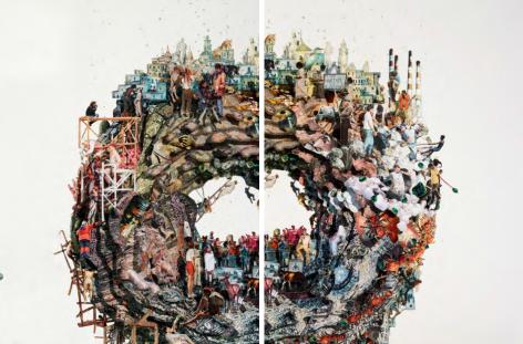 Dustin Yellin, Planet Donut, 2017