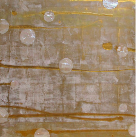 Untitled Yellow Gold and Pearl (Chanel), 2011, Gold leaf, mother of pearl inlay, resin, pigment, on wood panel
