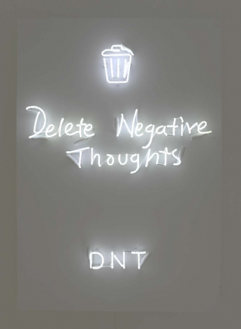 DNT (Delete Negative Thoughts), 2018, Neon mounted to metal backing box