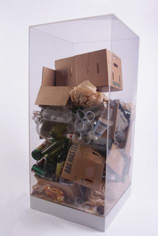 Robert Rauschenberg's Refuse, 1970, Accumulation of studio refuse in Plexiglas box