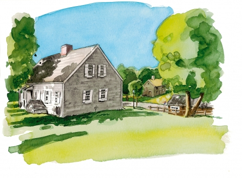Wickham farm house on the Cutchogue Village Green, early 1700's.