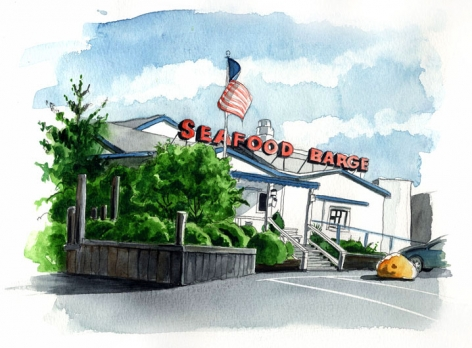 The Seafood Barge Restaurant is located on the water on Route 25 in the Port of Egypt Marina in Southold.