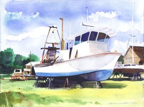 In New Suffolk's marina.