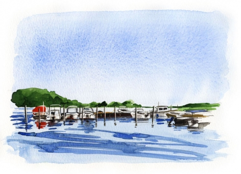 Narrow River Marina, Orient. Narrow River opens up to broad Gardiner's Bay.