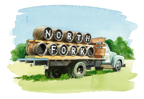 "On Cutchogue's North Road, old barrels on a truck celebrate wine made from Pinot Noir, the  ""heartbreak grape."" The first grapes planted on Long Island in 1973 were pinot noir, and wine made from them can still be found at Hargrave Vineyard (now ""Castello di Borghese"")."