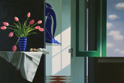 Bruce Cohen Interior with Pink Tulips and Blue Nude, 2020
