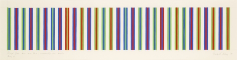 Bridget Riley, Bright Green, Blue and Red, Surrounding One Another, Study 4, 1973