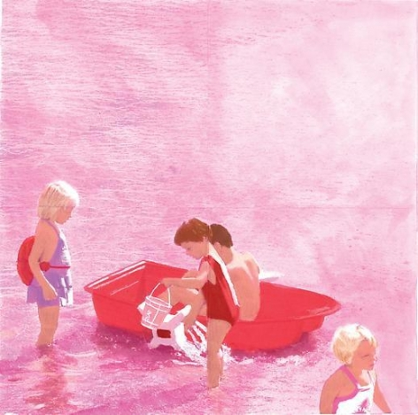 Red Boat Beach, White Suit (Pink)