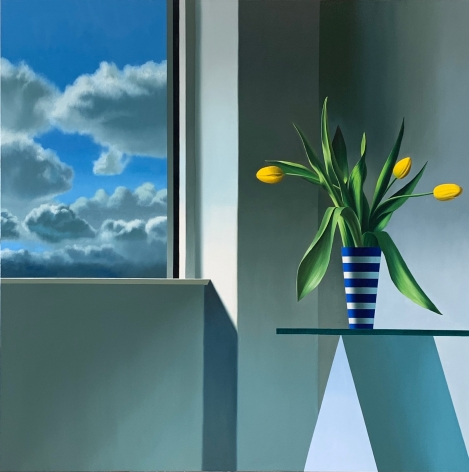 Bruce Cohen Interior with Yellow Tulips and Clouds, 2020