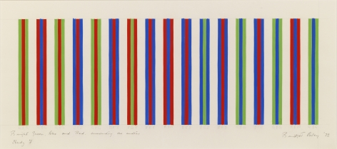 Bridget Riley, Bright Green, Blue and Red, Surrounding One Another, Study 7,1973