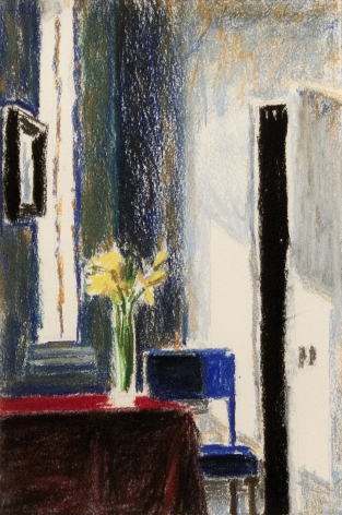 Bruce Cohen Interior with Daffodils and Blue Chair, 2018