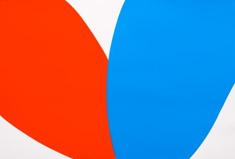 Poppy (vermilion/blue paper study), 2021