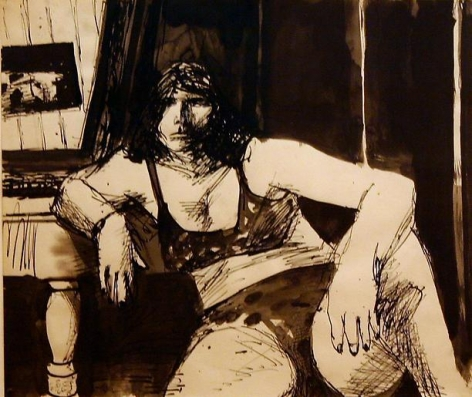 Elmer Bischoff Seated Model with Lingerie (#45)