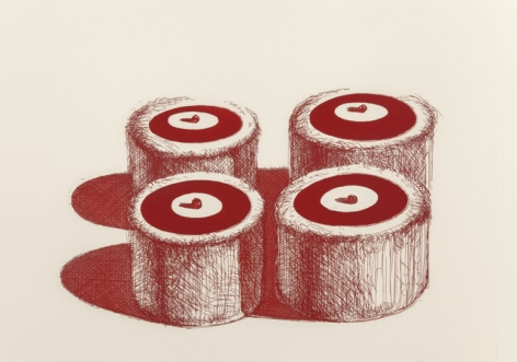 Wayne Thiebaud Cherry Cakes, from Recent Etchings II, 1979