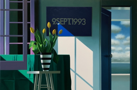 BruceCohen, Interior with Yellow Tulips and On Kawara, 2020