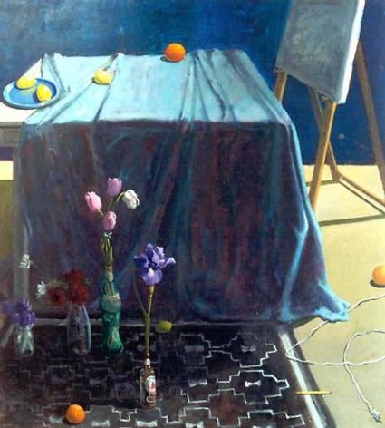 Paul Wonner Studio: Blue Cloth and Navajo Rug, 2000