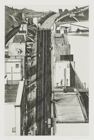 Wayne Thiebaud Downgrade, from Recent Etchings I, 1979