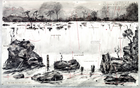 William Kentridge Drawing for The Head & The Load (Landscape with Waterfall), 2018