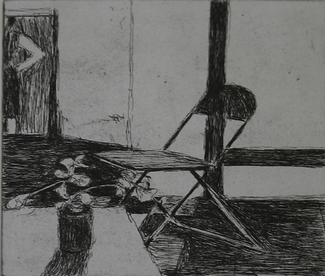 Richard Diebenkorn #38 from 41 Etchings Drypoints (chair, potted plant, woman standing)