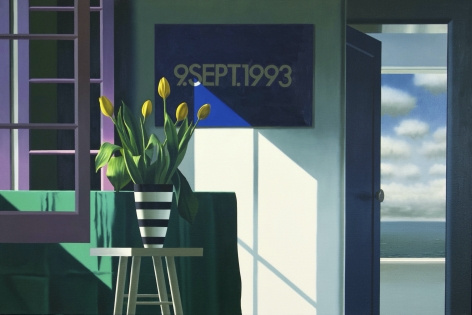 Bruce Cohen Interior with Yellow Tulips and On Kawara, 2020