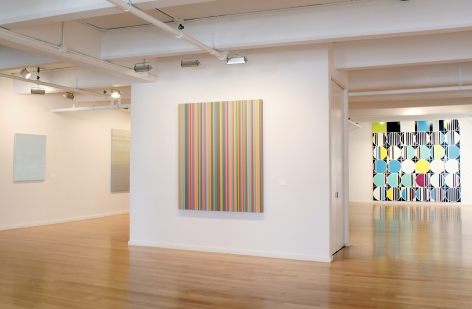 Installation Shot from Patterns of Abstraction , Rudolf Stingel, Liza Lou, Bridget Riley, Sarah Morris