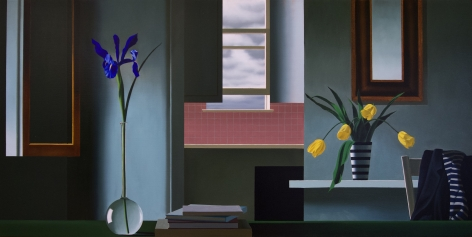 Bruce Cohen Untitled, Interior with Iris, Tulips and Pink Kitchen, 2017