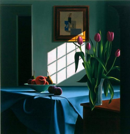 Interior with Pink Tulip and Blue Table Cloth