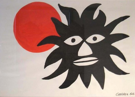 Large Black Face with Sun