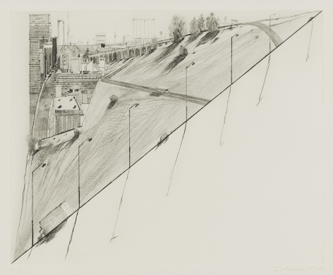 Wayne Thiebaud Diagonal Ridge, from Recent Etchings II, 1979