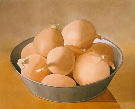 Yellow Onions in Tin Bowl