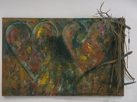Coronation 2002 oil, bondo and found objects on canvas