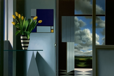 Bruce Cohen Interior with Yellow Tulips and Mondrian, 2020