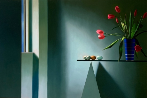 Bruce Cohen Interior with Tulips on Glass Table, 2020
