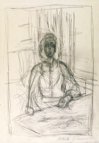 Alberto Giacometti, Annette a Table a Stampa (verso: Personnages a table), 1951