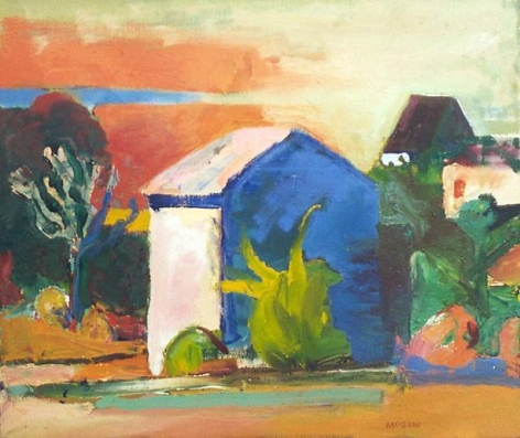 Landscape with Blue House