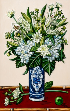 David Bates Dahlias and Hydrangea, 2017