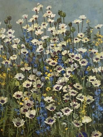 John Alexander White Poppies In Blue, 2021