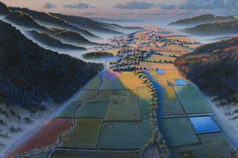 Stephen Hannock Recent Adventures in Art in the Napa Valley, Flooded River for Wayne Thiebaud (Mass MoCA #125), 2009