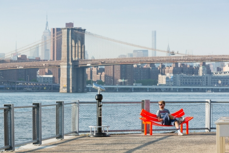Jeppe Hein, Modified Social Bench NY #11, 2015, Installation view: Please Touch The Art, Brooklyn Bridge Park, 2015-16