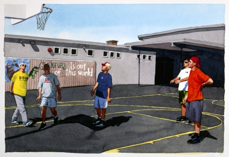 Tim Gardner, Untitled (Bhoadie, Nick, S, Matt & Tim playing basketball, Victoria), 1999