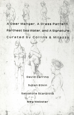 A Deer Manger, A Dress Pattern, Farthest Sea Water, and A Signature.