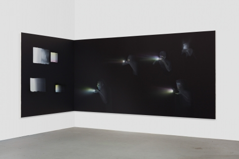 Tala Madani, Corner Projection with Squares, 2018