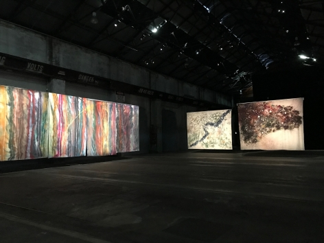 Sam Falls, Exhibition view: 21st Sydney Biennial, Carriageworks, Sydney, 2018